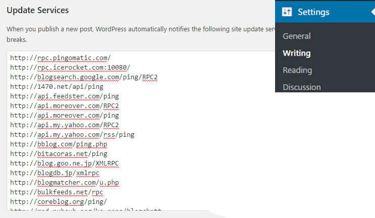daftar ping wordpress terbaru